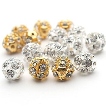 30pcs/lot 6mm/8mm/10mm Gold/Silver Round Pave Disco Ball Beads Rhinestone Crystal Spacer Beads for DIY Jewelry Findings F2419