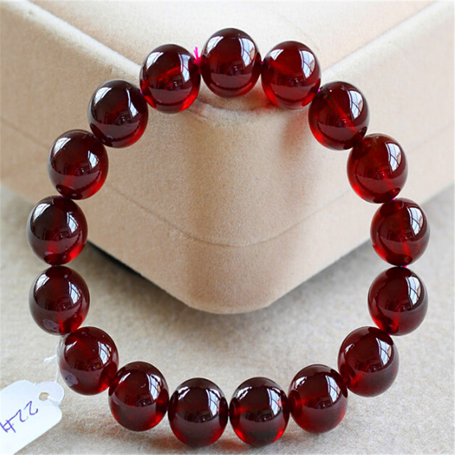11mm Genuine Precious Wine Red Natural Stone Garnet Quartz Crystal Round Beads Bracelet For Women Stretch Charm Bracelet Femme(China (Mainland))