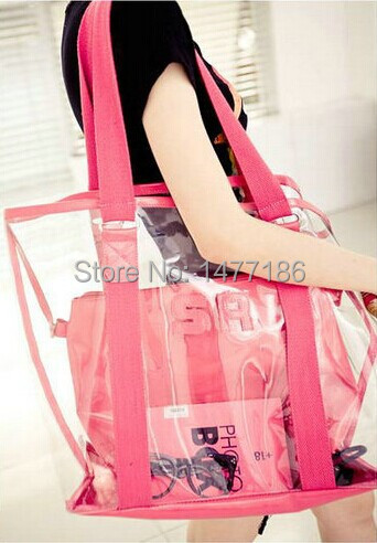 2014 new Korean high quality waterproof transparent beach bags jelly bag plastic shoulder bag(China (Mainland))