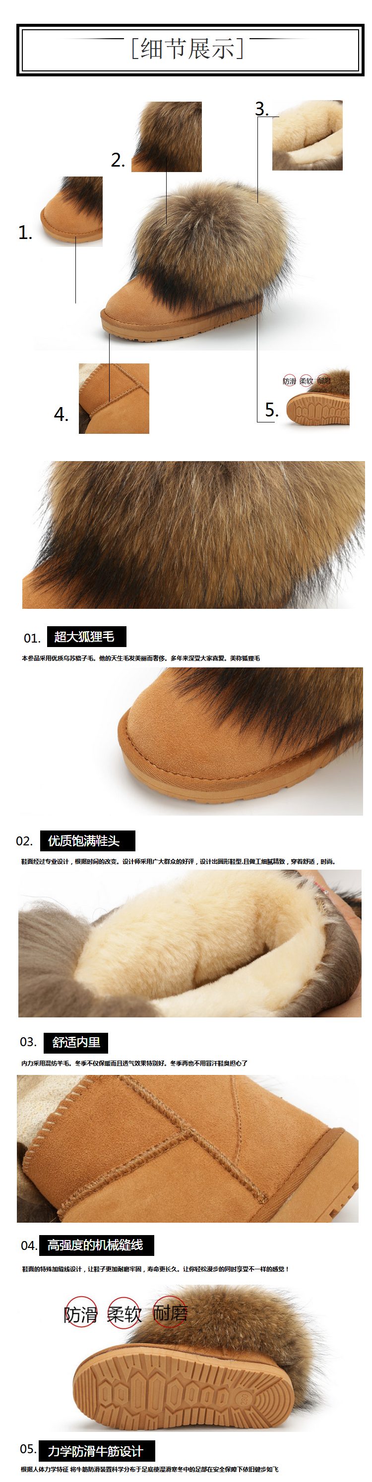 100% Genuine Leather Big Real Fox Fur Snow Boots For Women Cowhide Cotton Platform Shoes Slip On Flats Ladies Short Ankle Boots