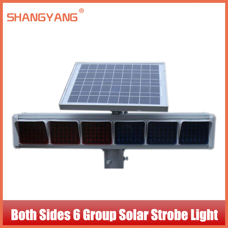 Both Sides 6 Group Solar Strobe Independent Lampshade Intersection Traffic Lights Solar Warning Light Traffic Facilitie SY-TL006(China (Mainland))