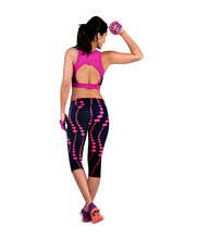 Toopoot Womens summer casual  Sport Pants Printed Stretch Top marque fille Fitness Sport Leggings  Stretch Cropped Leggings (China (Mainland))