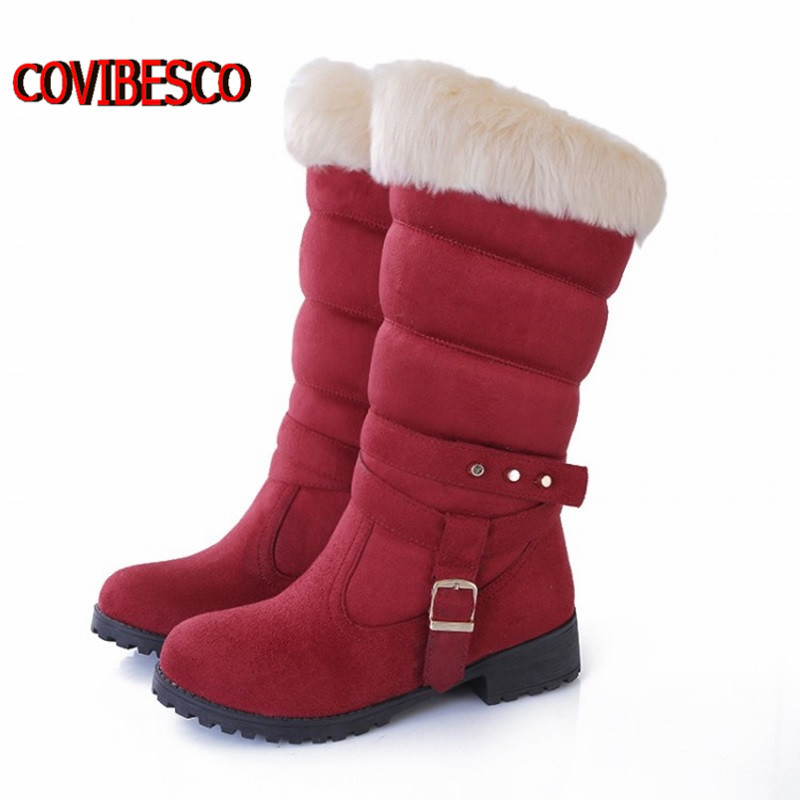 Big size 34-43 women Snow Boots Punk Rivets Buckle Shoes Fashion Half Knee High Low Heels Winter Warm Fur long boots - COVIBESCO Ltd's store