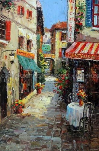 100% hand painted French Village Town Restaurant Bar Sidewalk Dining Table Oil Painting Art free shipping High quality(China (Mainland))