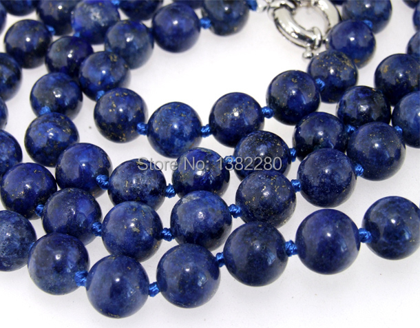 Fashion New ! Style diy 10mm Round lapis chalcedony Beads Necklace 36 inches JT6206 dallas cowboys jersey(China (Mainland))