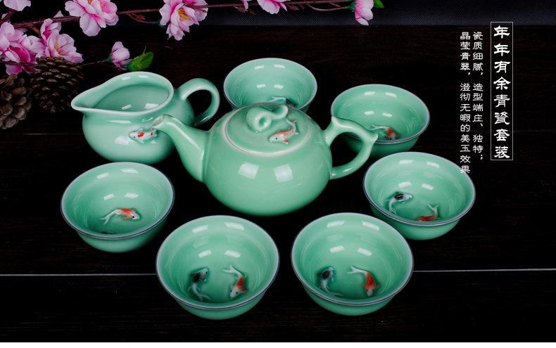 8pcs high quality fish celadon tea set porcelain tea set ceramic tea set free shipping drinkware kungfu tea set at bargain price(China (Mainland))