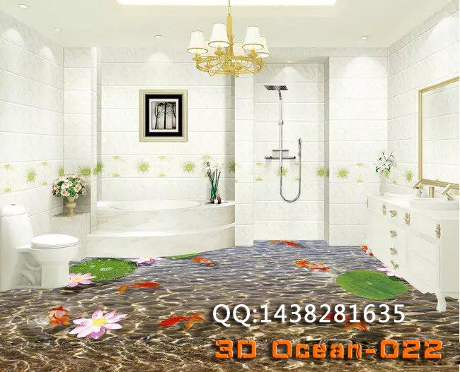 3 d pvc flooring custom wall sticker 3 d beautiful tulip flowers 3d bathroom flooring paintings photo 3d wall murals wallpaper(China (Mainland))