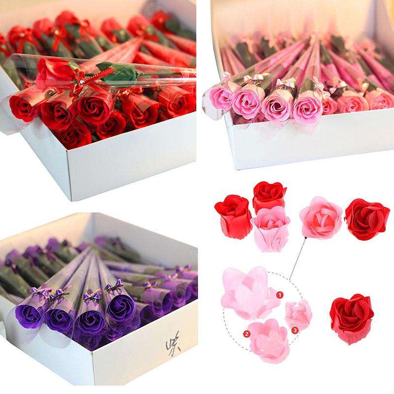 30PCS Luxurious Wedding Decoration Red Fuchsia Scented Rose Flower Petal Bath Body Soap Decoracion de boda Party Gift ALL Sales(China (Mainland))