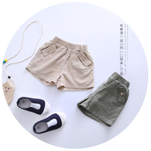 2016 New Summer Baby Boys Girls Shorts Solid Design Summer Linen Children Shorts Kids Shorts Children's Clothing (China (Mainland))