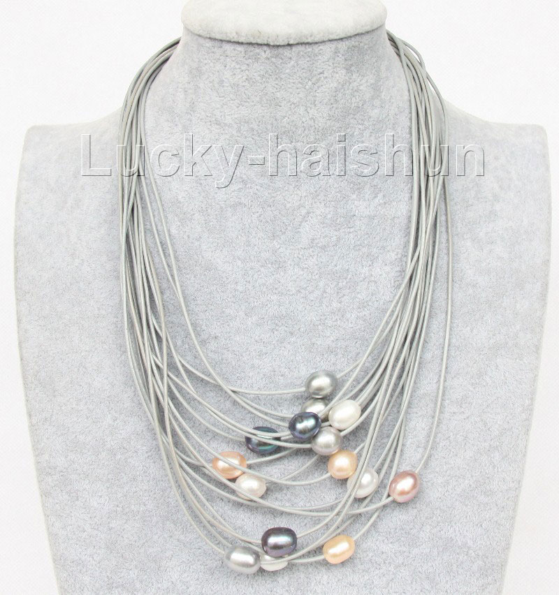 "17""-24"" 15row white pink black gray purple pearls gray leather necklace j9632(China (Mainland))"