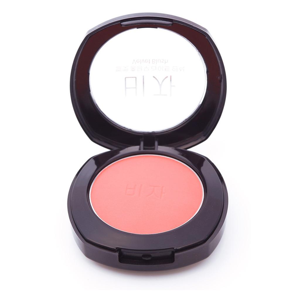 Soft Maquiagem Pressed Natural Face Blush Powder Blusher Palette Makeup with Mirror Brush blush com espelho #61696(China (Mainland))