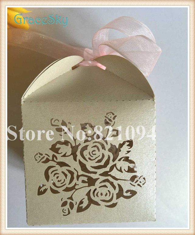 100PCS Free Shipping Laser cut Rose Flower Paper Candy Chocolate Gift Favor Boxes for Wedding Birthday Parting Decorations(China (Mainland))