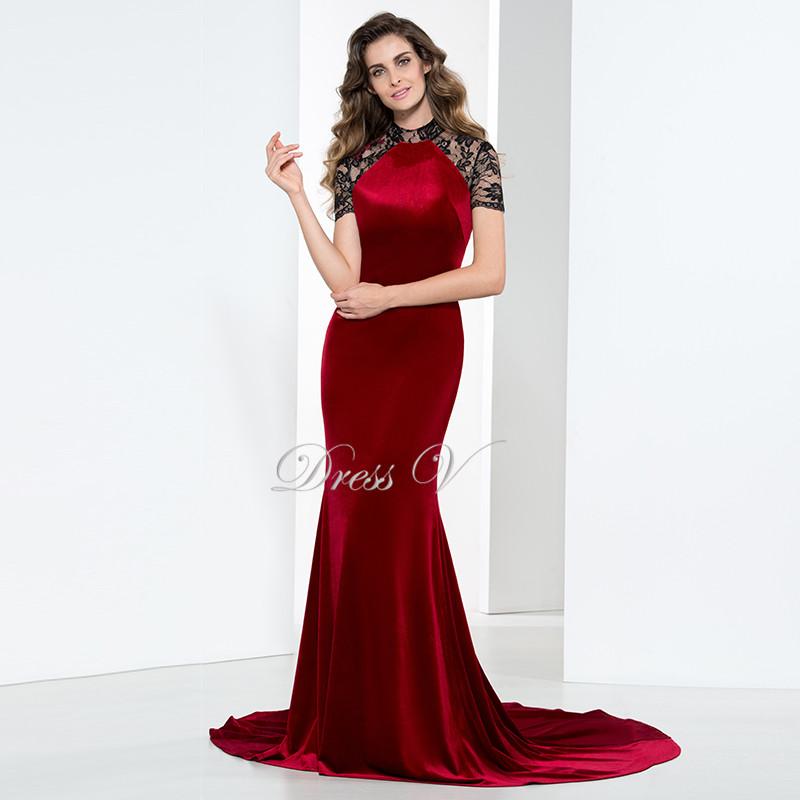 Elegant Long Burgundy Mermaid Velvet Evening Dresses 2016 Court Train Hollow Out Lace O-neck Short Sleeves Formal Evening Dress(China (Mainland))