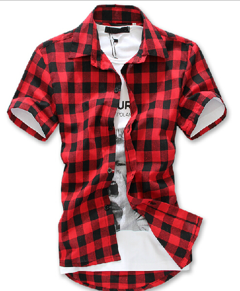 Short sleeve flannel shirts for men is shirt Short sleeve plaid shirts