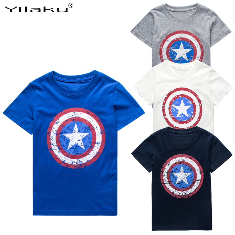 2017 Summer Boys T shirt Clothes Captain America Kids T-shirts For 1~11 Y Boy Cartoon Tops Tees Children Clothing CG050(China (Mainland))