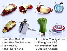 Real capacity Avengers Iron Man Metal usb flash drive 4GB 8GB 16GB 32GB USB 2.0 Flash Memory Stick Drive pen drive(China (Mainland))