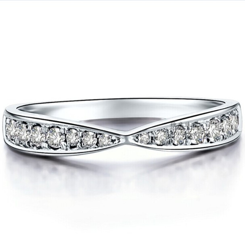 Solid White Gold Infinity Band SONA Synthetic Diamond Band Ring Bridal Jewelry Marriage Ring Matched 14K Semi Mount Twist Design(China (Mainland))