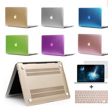 Matte Case For Apple Macbook Air Pro Retina 11 12 13 15 Laptop Bag sleeve notbook Hard For mac+Keyboard Cover+Film without logo