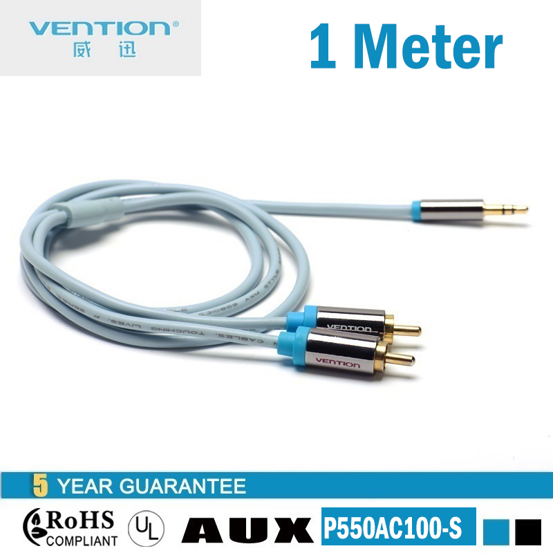 1.0 meter Vention jack rca cable 2 rca male cable 3.5 male to rca male audio rca cable P550AC100(China (Mainland))