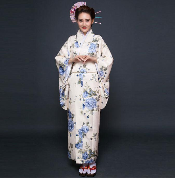Novelty Japanese Lady Silk Kimono Gown Traditional Yukata With Obi Evening Dress Stage Dance Costume Floral One Size WK065