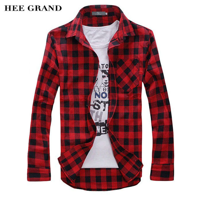 HEE GRAND 2017 Hot Sale Men's Vintage Plaid Long Sleeve Shirt Shirts High Quality Camisa Masculina Plus Size M-3XL MCL1555