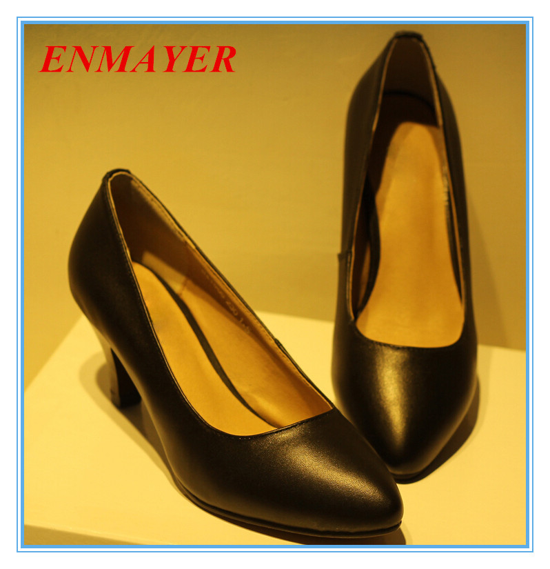 ENMAYER  only black Basic Classics pumps Genuine Leather pumps plain sinmple style shoes for girls Office &amp; Career women pumps<br><br>Aliexpress