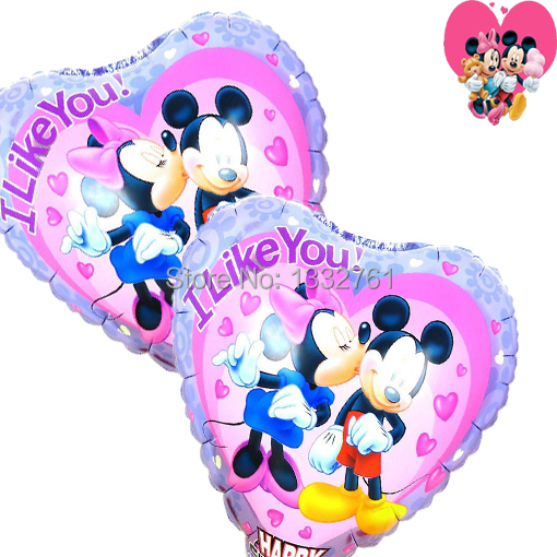 20pcs/lot christmas toys air balloon 18inch printed ballons i like you inflatable baloons mickey and minnie party baloes helium(China (Mainland))
