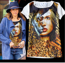 3D Tiger Girl Face Print Women Short-sleeve T-shirts Sports Outwear Soft Tee Top