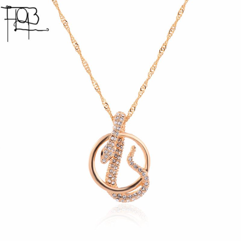 2016 18K Gold Plated Austrian Crystal Pendant Necklace Fashion Jewelry Crystal Snake Pendants Women Lady(China (Mainland))