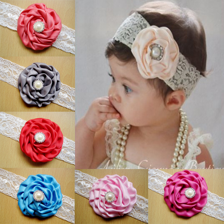 2015 Hot Sale Gum Plaiting 12colors Lace Hair With Rose Pearl Ornament Baby Headbands Girl Elastic Bands Infant Kids Bow Band(China (Mainland))