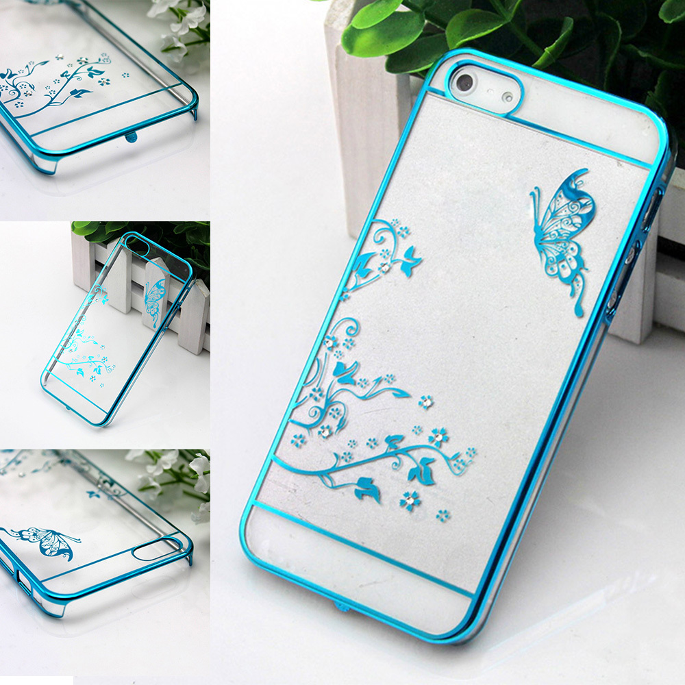 Luxury Crystal Diamond Bling Transparent Electroplate Back Cases iPhone 5 5S 6 6plus Cover Phone Bag Butterfly - Xinghai store