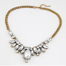 Yazilind Waterdrop Gold Plated Inlay Clear Crysatl Statement Party Rhinestone Necklace Free Shipping(China (Mainland))