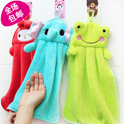 Cartoon hand towel coral fleece hand wipe cloth kitchen cloth lounged supplies personalized household goods(China (Mainland))