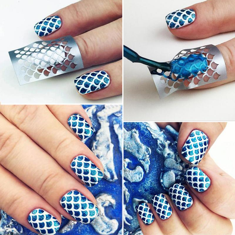 Homemade Nail Art Decals : Diy scale nail art hollow irregular grid stencil manicure stickers