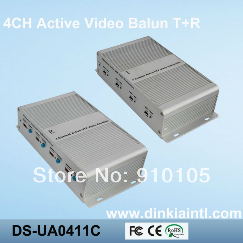 4 Channel UTP Network Active Video Balun Cat5 Transmitter and Receiver 3 Years Warranty DS-UA0411C(Hong Kong)