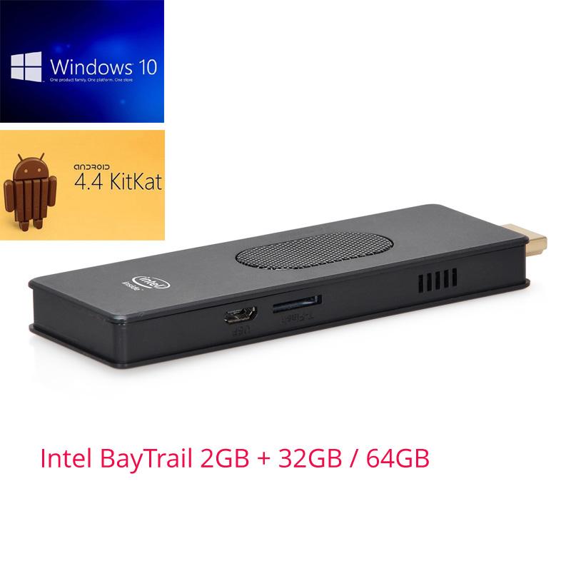Dual OS Windows 10 & Android 4.4 Mini PC Intel Atom Z3735F Quad-core 2GB+32GB/64GB Computer Stick(China (Mainland))
