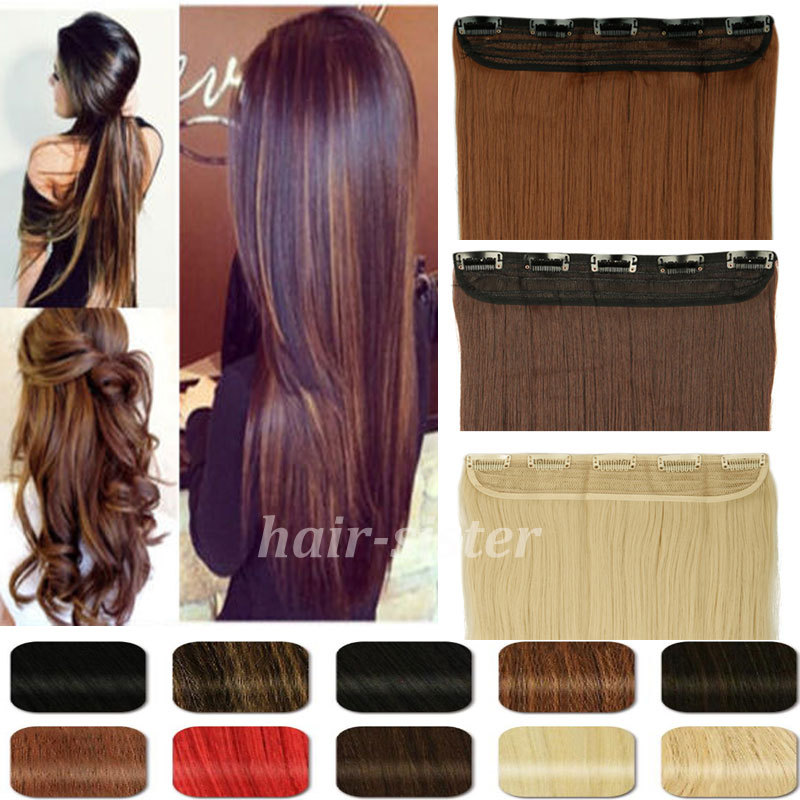 Long 26 Straight 68CM 100% Real Thick 170g 3/4 Full Head Clip in on Hair Extensions 2015 FAHION NEW MULTI-COLORS<br><br>Aliexpress