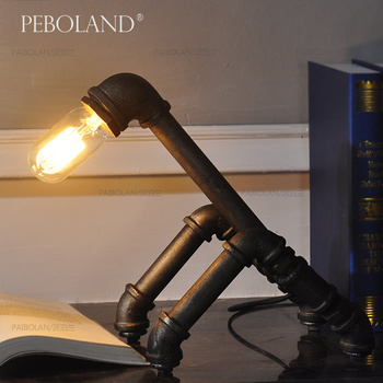 Vintage water pipe table lamp Retro Luxury industrial Iron Hardware Desk Lamp