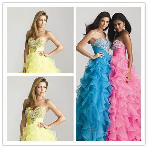 Ball Gown Sweetheart Sleeveless Floor Length Blue/Pink/Yellow Chiffon Beaded Evening Dresses/Evening Gowns 2014
