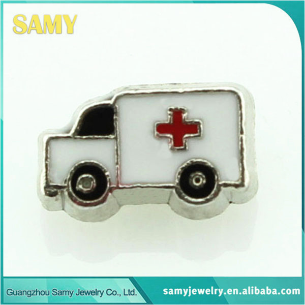 new arrive 10pcs/lot ambulance car charms latest fancy floating charms(China (Mainland))