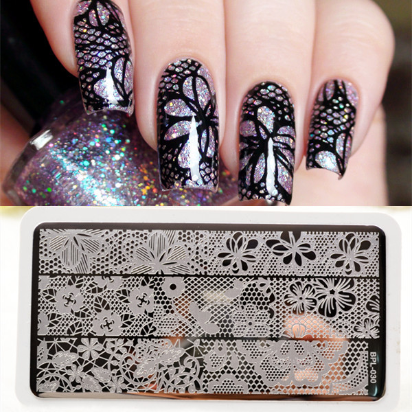 Bp L030 Full Lace Plate Nail Art Stamp Template Image Rctangular