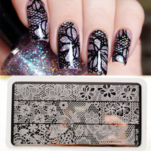 BP-L030 Full Lace Plate Nail Art Stamp Template Image Rctangular Stamping PLates BORN PRETTY 12 x 6cm