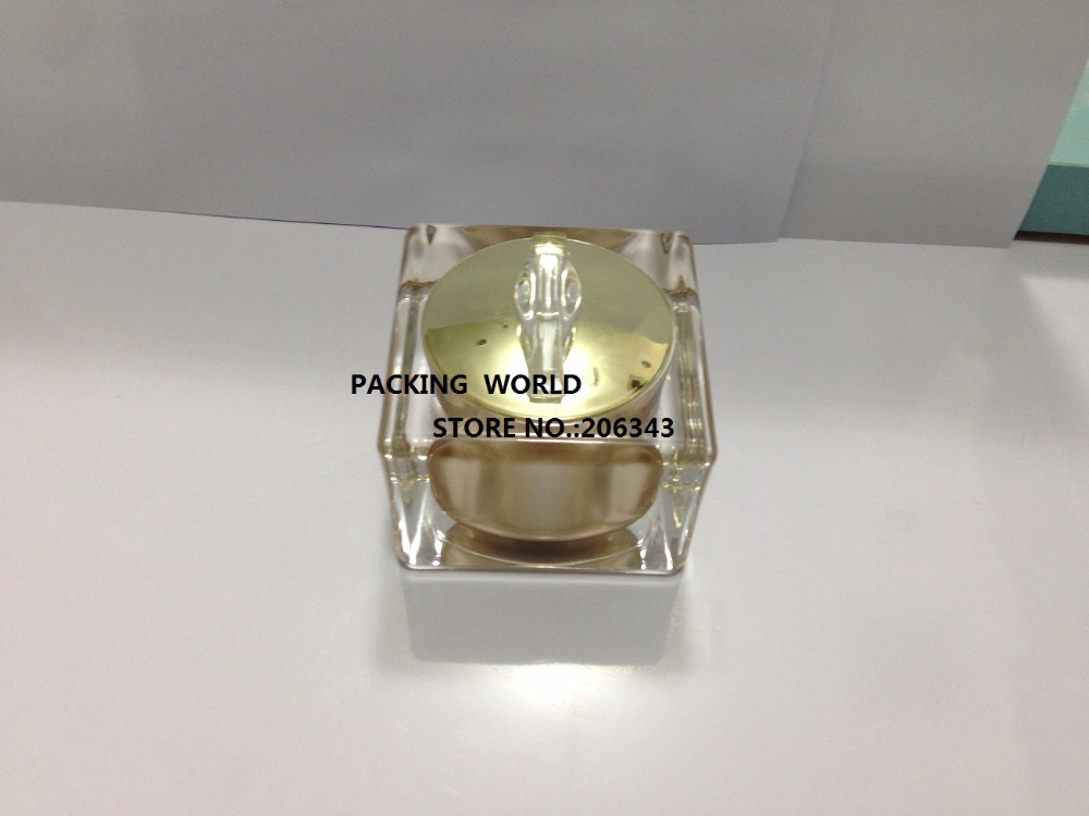 50g luxurious acrylic gold square shape cream jar, plastic jar  or cosmetic jar  ,Cosmetic Packaging<br><br>Aliexpress