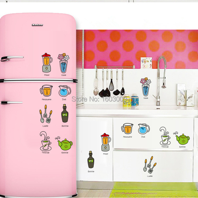 2015 New Kitchen Products Cartoon Kitchen Wall Decals Decor Removable Kitchen Wall Stickers Home Decor(China (Mainland))