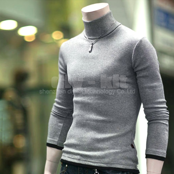 Men's Casual Slim Fit Turtle Neck Long Sleeve T-shirts Tee shirts Polo Shirt Knitwear Blouse Coat Free shipping Cheap(China (Mainland))
