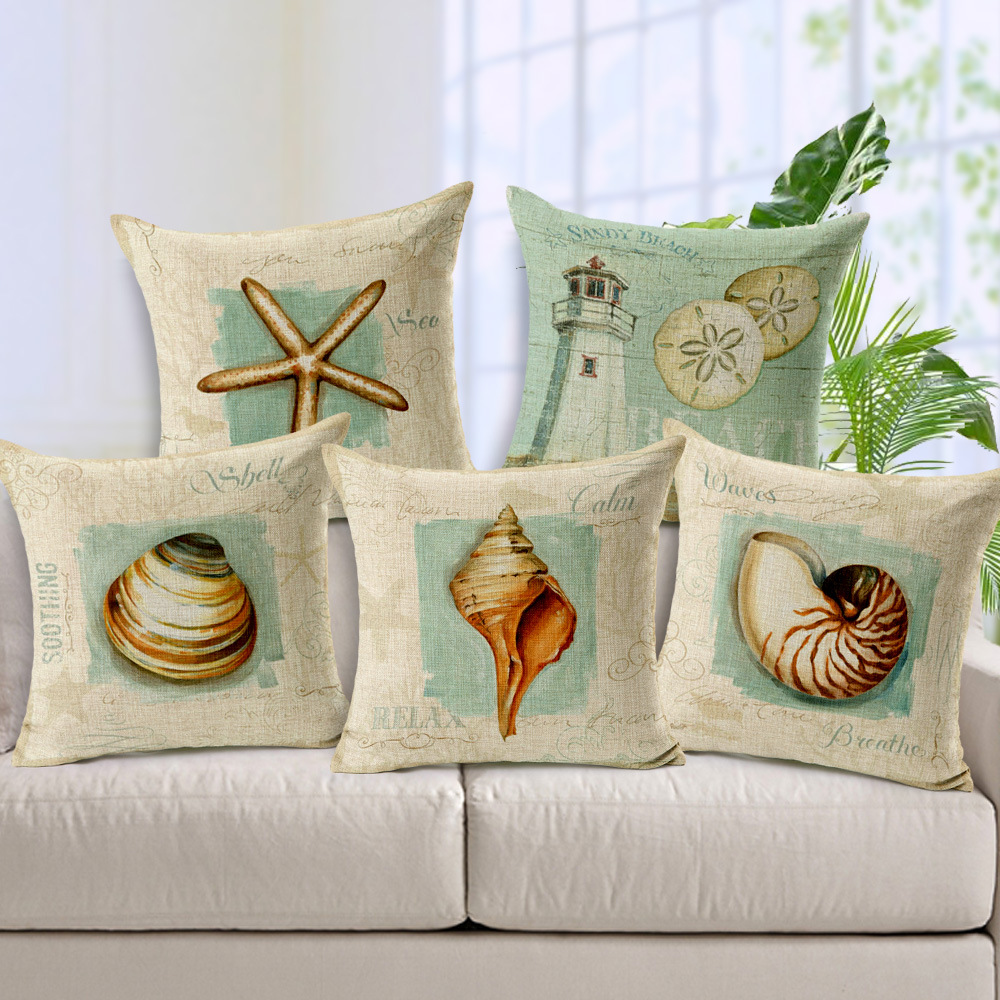 Shell Starfish Cushion Covers Marine Life Throw Pillow Covers Lighthouse Sofa Pillow Cases 45X45cm Bedroom Sofa Decoration(China (Mainland))