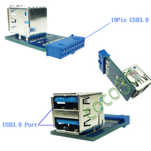 Free Shipping 10 PCS USB 3.0 Hub 19pin USB 3.0 header to Dual USB3.0 A Female Port Converter Card USB3.0 Adapter