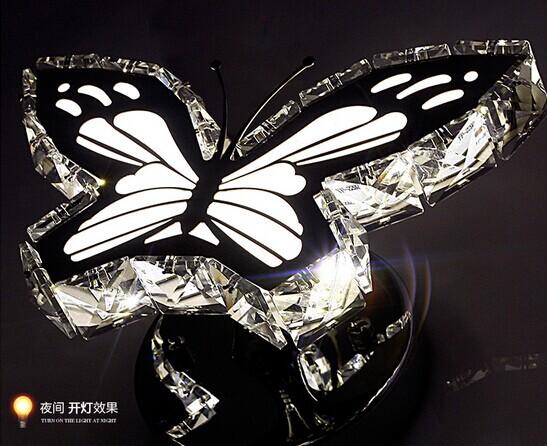Mariposa de cristal LLEVÓ la lámpara de pared minimalista moderna ...