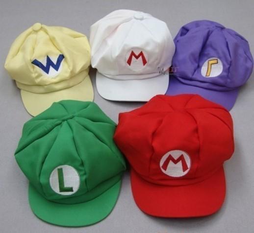 Super Mario Bros Hat cosplay for children Caps Mario Luigi Wario Waluigi 5 styles plush toy(China (Mainland))
