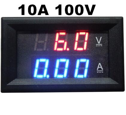 10pcs/lot DC 0-100V/10A Ammeter Voltmeter Gauge Amperemeter Volt Meter Car LED Tester Digital Current Voltage Monitor